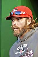 12 October 2012: Washington Nationals outfielder Jayson Werth chats in the dugout prior to Postseason Playoff Game 5 of the National League Divisional Series against the St. Louis Cardinals at Nationals Park in Washington, DC. The Cardinals rallied with four runs in the 9th inning to defeat the Nationals 9-7; thus winning the NLDS and moving on to the NL Championship Series. Mandatory Credit: Ed Wolfstein Photo