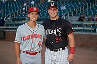 Former teammates at Wake Forest University, Stuart Fairchild (4) of the Chattanooga Lookouts and Gavin Sheets (24) of the Birmingham Barons, pose for a photo before a Southern League game on July 24, 2019 at Regions Field in Birmingham, Alabama.  Birmingham defeated Chattanooga 9-1. (Mike Janes/Four Seam Images)
