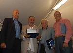 PAOLO MIELI CON ALBERTO RONCHEY, ARRIGO LEVI E FABIANO FABIANI<br /> PREMIO LETTERARIO CAPALBIO 2004