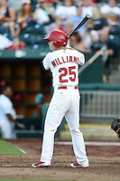 Springfield Cardinals second baseman Matt Williams (25) at bat during a game against the Frisco Rough Riders on June 1, 2014 at Hammons Field in Springfield, Missouri.  Springfield defeated Frisco 3-2.  (Mike Janes/Four Seam Images)