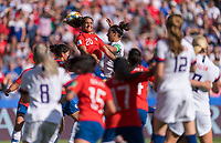 PARIS,  - JUNE 16: Daniela Zamora #20 heads the ball away from Carli Lloyd #10 during a game between Chile and USWNT at Parc des Princes on June 16, 2019 in Paris, France.
