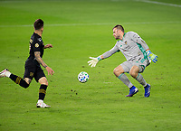 CARSON, CA - OCTOBER 28: Marko Maric  #1 of the Houston Dynamo moves to his right for a ball sent by Brian Rodriguez #17 of the Los Angeles FC during a game between Houston Dynamo and Los Angeles FC at Banc of California Stadium on October 28, 2020 in Carson, California.