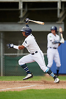 Princeton Rays shortstop Wander Franco (6) follows through on a swing during the first game of a doubleheader against the Greeneville Reds on July 25, 2018 at Hunnicutt Field in Princeton, West Virginia.  Princeton defeated Greeneville 6-4.  (Mike Janes/Four Seam Images)
