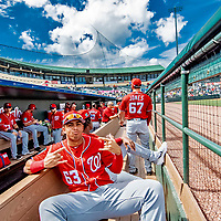 1 March 2019: Washington Nationals infielder Luis Garcia poses in the dugout prior to a Spring Training game against the Miami Marlins at Roger Dean Stadium in Jupiter, Florida. The Nationals defeated the Marlins 5-4 in Grapefruit League play. Mandatory Credit: Ed Wolfstein Photo *** RAW (NEF) Image File Available ***