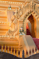 Myanmar, Burma, Mandalay.  Stairway to the Stupa of the Kuthodaw Temple, around which 729 marble slabs display the 15 books of the Tripitaka, each page housed in a separate stupa.  Construction began 1857.