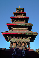Nayatapola Temple is Nepal's tallest at 98 feet and was dedicated in 1702 by king Bupathindra Malla - Bhaktapur, Nepal