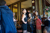 Clare Presland as Musetta in an OperaUpClose performance of the Second Act of Puccini's La Boheme amongst regulars in the public bar at The Chippenham pub in North Paddington.