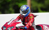 May 14, 2011; Commerce, GA, USA: NHRA pro stock motorcycle rider Angie Smith during qualifying for the Southern Nationals at Atlanta Dragway. Mandatory Credit: Mark J. Rebilas-
