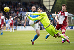 St Johnstone v RangersÖ21.05.17     SPFL    McDiarmid Park<br /> Jak Alnwick clears from the toes of Chris Kane<br /> Picture by Graeme Hart.<br /> Copyright Perthshire Picture Agency<br /> Tel: 01738 623350  Mobile: 07990 594431