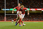 Wales Rhys Patchell races towards the line <br /> <br /> Photographer Ian Cook/CameraSport<br /> <br /> 2019 Under Armour Summer Series - Wales v Ireland - Saturday 31st August 2019 - Principality Stadium - Cardifff<br /> <br /> World Copyright © 2019 CameraSport. All rights reserved. 43 Linden Ave. Countesthorpe. Leicester. England. LE8 5PG - Tel: +44 (0) 116 277 4147 - admin@camerasport.com - www.camerasport.com