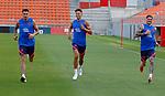 Atletico de Madrid's Jose Maria Gimenez, Marcos Llorente and Rodrigo de Paul during training session. August 3,2021.(ALTERPHOTOS/Atletico de Madrid/Pool)