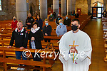 Fr Jim Linehan prepares to say his first public mass since St Mary's Cathedral reopened on Tuesday evening
