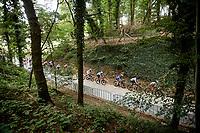 Wout van Aert (BEL/Jumbo-Visma), Julian Alaphilippe (FRA/Deceuninck - Quick Step) & Jasper Stuyven (BEL/Trek-Segafredo) up the Moskesstraat<br /> <br /> Elite Men World Championships - Road Race<br /> from Antwerp to Leuven (268.3km)<br /> <br /> UCI Road World Championships - Flanders Belgium 2021<br /> <br /> ©kramon
