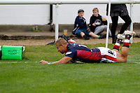 TRY - Luke Hibberd of London Scottish scores during the Championship Cup match between London Scottish Football Club and Nottingham Rugby at Richmond Athletic Ground, Richmond, United Kingdom on 28 September 2019. Photo by Carlton Myrie / PRiME Media Images