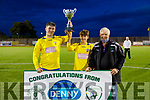 Killorglin Afc joint captains Daniel Evans and Aaron O'Shea accepts the Dominos Pizza U17 Cup from John O'Regan (Sec KDL) after having defeating Listowel Celtic