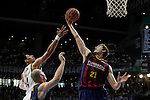 Real Madrid´s Ayon and Barcelona´s Pleiss during Liga Endesa Final first match at Palacio de los Deportes in Madrid, Spain. June 19, 2015. (ALTERPHOTOS/Victor Blanco)