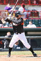 April 15th 2008:  Catcher Max St. Pierre (19) of the Erie Seawolves, Class-AA affiliate of the Detroit Tigers, during a game at Jerry Uht Park in Erie, PA.  Photo by:  Mike Janes/Four Seam Images