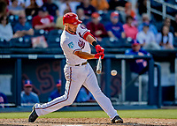 7 March 2019: Washington Nationals infielder Jake Noll at bat during a Spring Training Game against the New York Mets at the Ballpark of the Palm Beaches in West Palm Beach, Florida. The Nationals defeated the visiting Mets 6-4 in Grapefruit League, pre-season play. Mandatory Credit: Ed Wolfstein Photo *** RAW (NEF) Image File Available ***