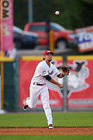 Tri-City ValleyCats shortstop Keach Ballard (32) throws to first during a game against the Brooklyn Cyclones on September 1, 2015 at Joseph L. Bruno Stadium in Troy, New York.  Tri-City defeated Brooklyn 5-4.  (Mike Janes/Four Seam Images)