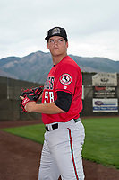 Billings Mustangs pitcher James Marinan (58) poses for a photo prior to a Pioneer League game against the Ogden Raptors at Lindquist Field on August 17, 2018 in Ogden, Utah. The Billings Mustangs defeated the Ogden Raptors by a score of 6-3. (Zachary Lucy/Four Seam Images)