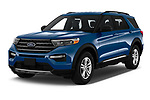 2020 Ford Explorer XLT 5 Door SUV Angular Front automotive stock photos of front three quarter view