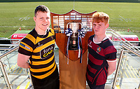 Monday 27th January 2020 | Ulster Schools' Cup Draw<br /> <br /> RBAI captain Rory Adair and Belfast Royal Academy captain Rob Sturgess at the draw for the Ulster Schools' Cup Quarter Finals held at Kingspan Stadium, Ravenhill Park, Belfast, Northern Ireland. Fixtures to be played on or before 8 Feb 2020.  Photo credit - John Dickson DICKSONDIGITAL