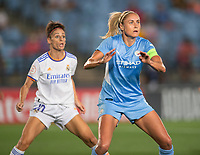 31st August 2021; Estadio Afredo Di Stefano, Madrid, Spain; Women's Champions League, Real Madrid CF versus Manchester City Football Club; Steph Houghton (Manchester City) and Esther Gonzalez (Real Madrid) await a crossed ball