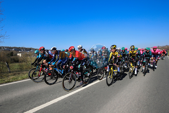 The peloton in action during Stage 1 of Paris-Nice 2021, running 166km from Saint-Cyr-l'École to Saint-Cyr-l'École, France. 7th March 2021.<br /> Picture: ASO/Fabien Boukla | Cyclefile<br /> All photos usage must carry mandatory copyright credit (© Cyclefile | ASO/Fabien Boukla)