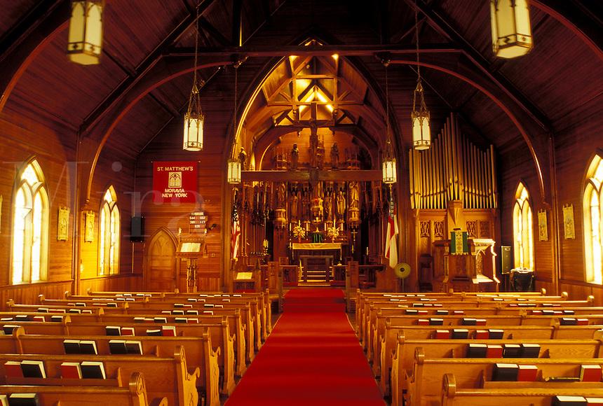 Noravia, NY, New York, Bavarian Carved Interior of St. Matthews Episcopal Church.