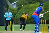 Natasha Codyre bowls during the Hallyburton Johnstone Shield women's cricket match between Wellington Blaze and Auckland Hearts at Karori Park in Wellington, New Zealand on Saturday, 20 February 2021. Photo: Dave Lintott / lintottphoto.co.nz