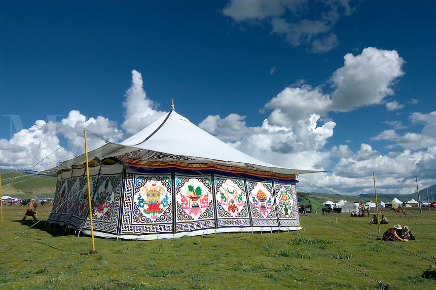 Tibetan tents with Buddhist designs are used for accomadation, Litang Horse Festival in Kham - Sichuan Province, China, (Tibet)