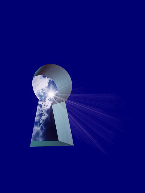 Sunshine through a keyhole
