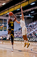 16 March 2019: UMBC Retriever Guard R.J. Eytle-Rock, a Freshman from London, England, shoots in first half against the University of Vermont Catamounts, in the America East Championship Game at Patrick Gymnasium in Burlington, Vermont. The Catamounts defeated the Retrievers 66-49 to take the AE Championship for the 2018/2019 NCAA Men's Basketball season. Mandatory Credit: Ed Wolfstein Photo *** RAW (NEF) Image File Available ***
