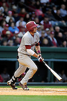 Outfielder Graham Saiko (26) of the South Carolina Gamecocks bats in a game against the Furman Paladins on Wednesday, April 3, 2013, at Fluor Field at the West End in Greenville, South Carolina. (Tom Priddy/Four Seam Images)