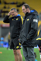 Forwards coaches Richard Watt (left) and John Plumtree during the Super Rugby match between the Hurricanes and Blues at Westpac Stadium, Wellington, New Zealand on Saturday, 2 July 2016. Photo: Dave Lintott / lintottphoto.co.nz