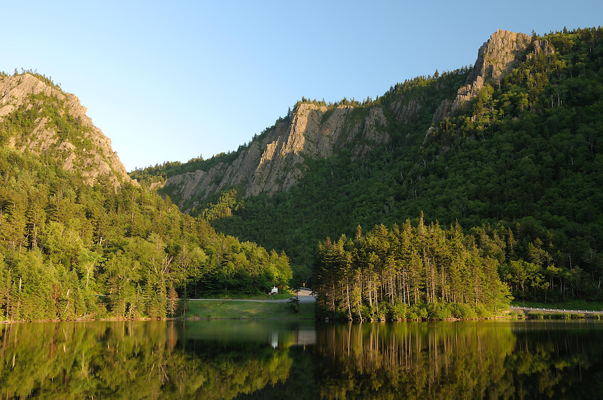 The summer afternoon sun plays light and shadow in Dixville Notch.