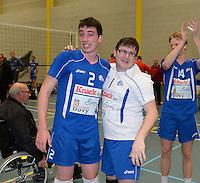 Knack Roeselare B - Doskom Moorslede : Knack B is kampioen met libero Delaere (1) en Knockaert (2) <br /> foto VDB / BART VANDENBROUCKE