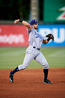 Pensacola Blue Wahoos third baseman Taylor Sparks (27) throws to first base during a game against the Mobile BayBears on April 25, 2017 at Hank Aaron Stadium in Mobile, Alabama.  Mobile defeated Pensacola 3-0.  (Mike Janes/Four Seam Images)