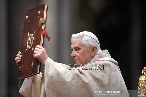 """Pope Benedict XVI celebrates Christmas mass at St. Peter's Basilica in Vatican City on December 24, 2011, to mark the nativity of Jesus Christ. Pope Benedict XVI hailed Christ's humility, urging the faithful to look beyond the Christmas """"glitter"""" and """"enlightened reason"""", and issued a powerful message for peace."""