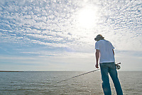 fisherman, flyfishing, fly angler, fishing, Biloxi Marsh, Louisisana, USA