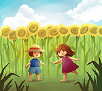 Illustrative image of friends playing in sunflower field representing fun