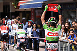 Sergiy Grechyn (UKR) Torku Sekerspor holds a Turkish flag aloft during Stage 2 of the 2015 Presidential Tour of Turkey running 182km from Alanya to Antalya. 27th April 2015.<br /> Photo: Tour of Turkey/Stiehl Photography/Mario Stiehl/www.newsfile.ie