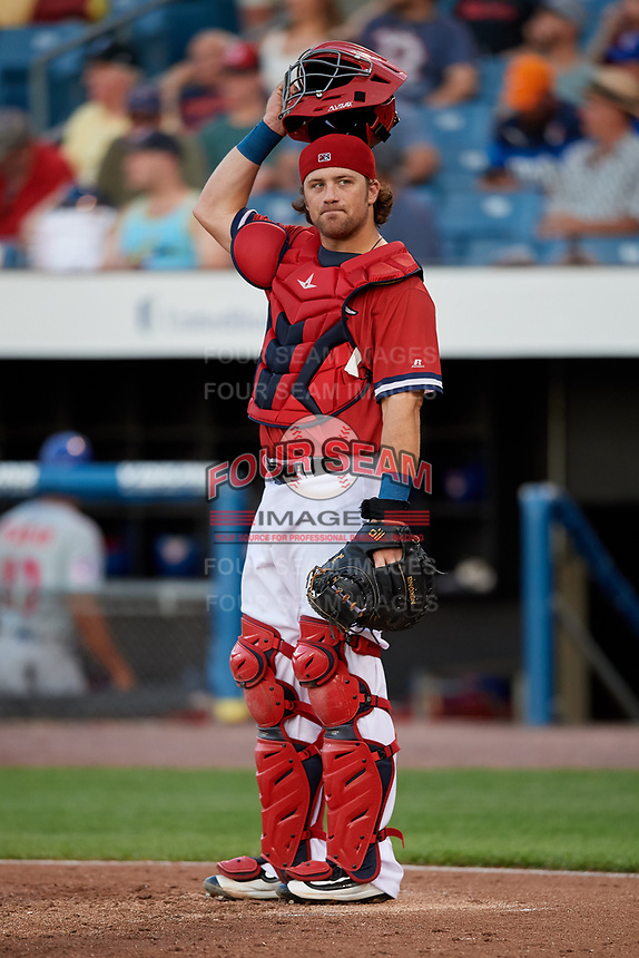 Syracuse Chiefs catcher Taylor Gushue (18) during a game against the Buffalo Bisons on September 2, 2018 at NBT Bank Stadium in Syracuse, New York.  Syracuse defeated Buffalo 4-3.  (Mike Janes/Four Seam Images)