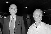 - Giorgio Almirante, segretario del partito neofascista MSI, con la moglie, Donna Assunta al Parlamento Europeo di Strasburgo nel 1979.<br /> <br /> - Giorgio Almirante, secretary of the MSI neo-fascist party, with his wife, Donna Assunta at the European Parliament in Strasbourg in 1979.