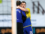 Dunfermline v St Johnstone…15.12.20   East End Park      BetFred Cup<br />Liam Craig hugs pars keeper Owain Fon Williams at full time<br />Picture by Graeme Hart.<br />Copyright Perthshire Picture Agency<br />Tel: 01738 623350  Mobile: 07990 594431