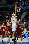 Real Madrid´s Felipe Reyes and Galatasaray´s Micov and Erceg during 2014-15 Euroleague Basketball match between Real Madrid and Galatasaray at Palacio de los Deportes stadium in Madrid, Spain. January 08, 2015. (ALTERPHOTOS/Luis Fernandez)