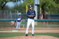San Diego Padres relief pitcher Noel Vela (54) gets ready to deliver a pitch during an Instructional League game against the Los Angeles Dodgers at Camelback Ranch on September 25, 2018 in Glendale, Arizona. (Zachary Lucy/Four Seam Images)