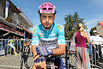 Kristijan Durasek (CRO) Lampre-Merida wears the leaders Turquoise Jersey at the start of Stage 7 of the 2015 Presidential Tour of Turkey running 166km from Selcuk to Izmir. 2nd May 2015.<br /> Photo: Tour of Turkey/Mario Stiehl/www.newsfile.ie