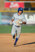 Nick Sinay (6) of the Bluefield Blue Jays rounds the bases after hitting a home run against the Burlington Royals at Burlington Athletic Stadium on June 26, 2016 in Burlington, North Carolina.  The Blue Jays defeated the Royals 4-3.  (Brian Westerholt/Four Seam Images)