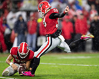ATHENS, GA - OCTOBER 19: Rodrigo Blankenship #98 of the Georgia Bulldogs kicks an extra point in the second half of a game against the Kentucky Wildcats during a game between University of Kentucky Wildcats and University of Georgia Bulldogs at Sanford Stadium on October 19, 2019 in Athens, Georgia.